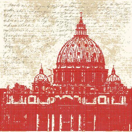 roman catholic: Saint Peters, Roman Grunge Background Illustration