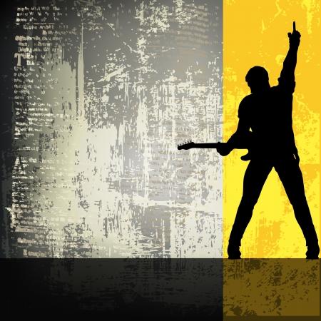 Gitarist Vector achtergrond/Flyer Vector Illustratie