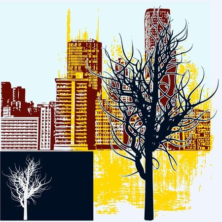 streetlife: Winter City, Vector background