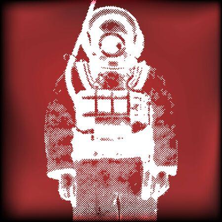 Deep Sea Diver Vector Background Stock Vector - 9570576
