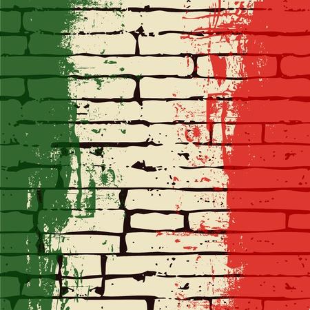 bandiera italiana: Sfondo di vettore di bandiera italiana grunge sopra un muro di mattoni