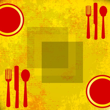Menu Vector Template, over grunged yellow background  Illustration