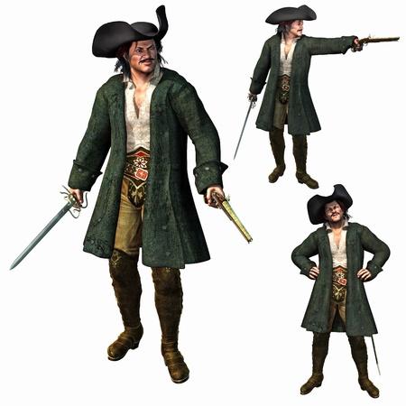 Le capitaine Pirate, rendu 3D