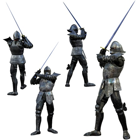 Swordsman chevalier en armure compl�te, rendu 3D