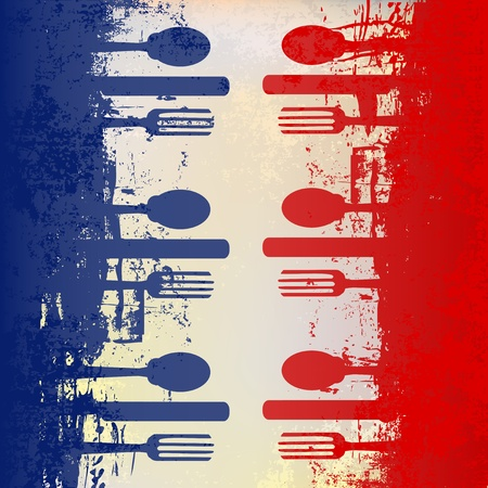 French Menu Vector template over a flag of France