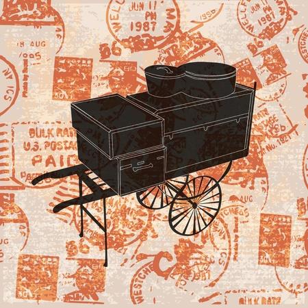 packing suitcase: Vintage Background di viaggio, con un carrello portabagagli Vettoriali