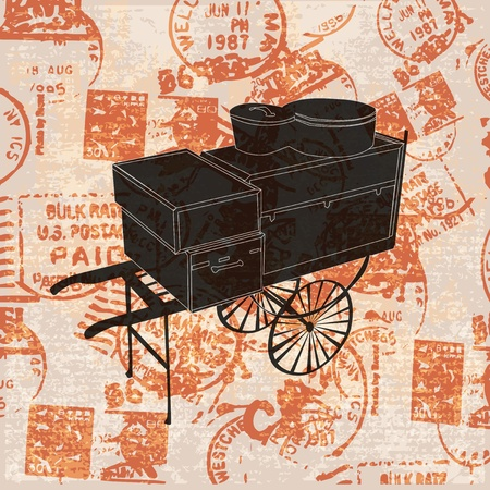 depart: Vintage Travel Background, with a luggage trolley