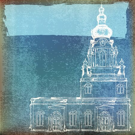 historical building: Grunge paper background with a church outlined