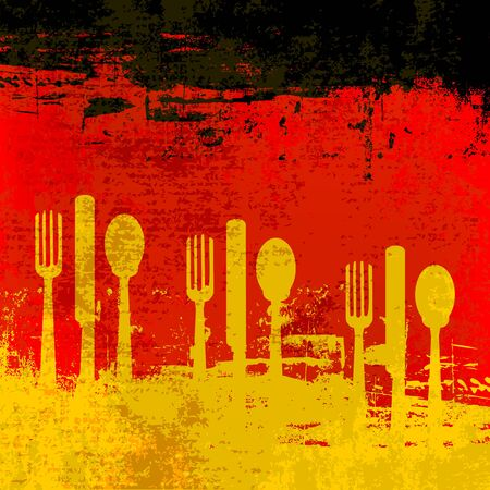 eating utensil: German Menu template over a flag of Germany