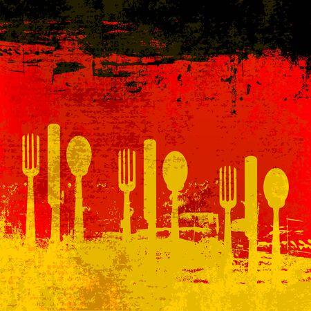 comida alemana: Plantilla de men� de alem�n sobre una bandera de Alemania