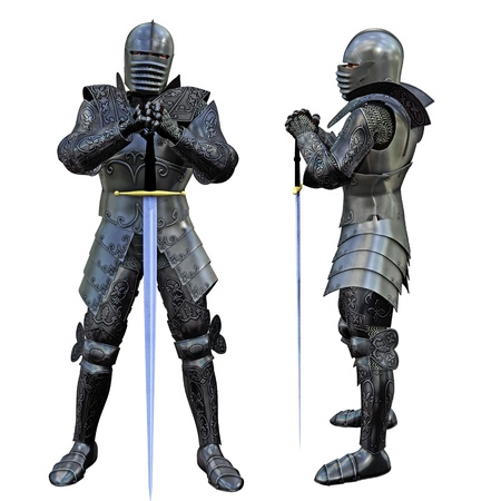 Knight Swordsman in Full Armour, 3D render  photo