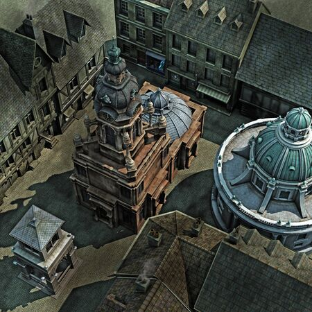 Baroque City Roof Tops, 3D render illustration  illustration