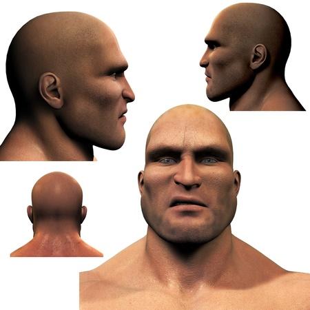 The Thug , 3D Render of a dangerous man  photo