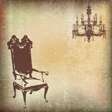 vector chair: Vintage Chair Vector Parchment Background