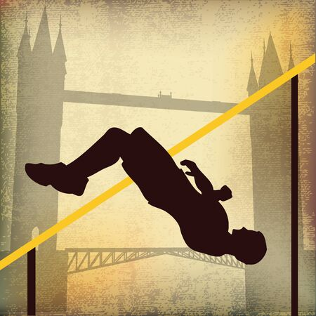 London 2012, High Jump and Tower Bridge Stock Vector - 10733637