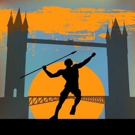 hurling: London 2012, An Athlete hurling a javelin in front of Tower Bridge