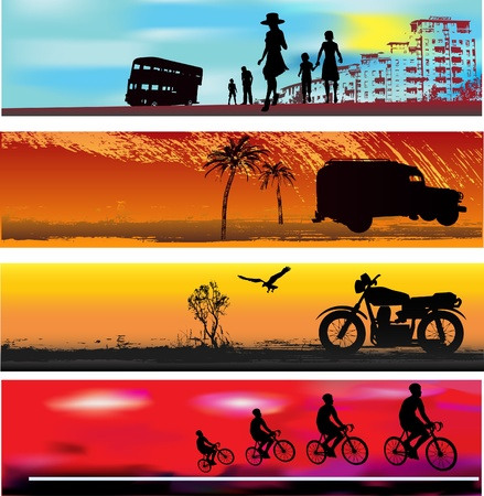 family van: Transport Web Banner Templates  Illustration