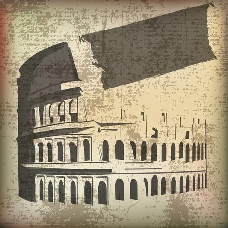 colosseo: Colosseo pergamena di sfondo Vettoriali