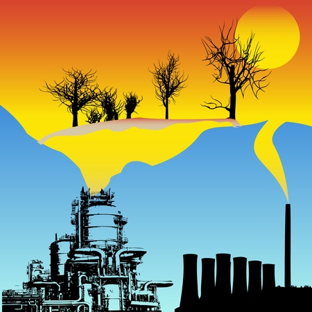 gas refinery: Global Warming  Illustration