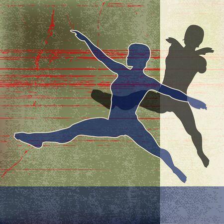 Female Gymnasts, Vector Background  Vector