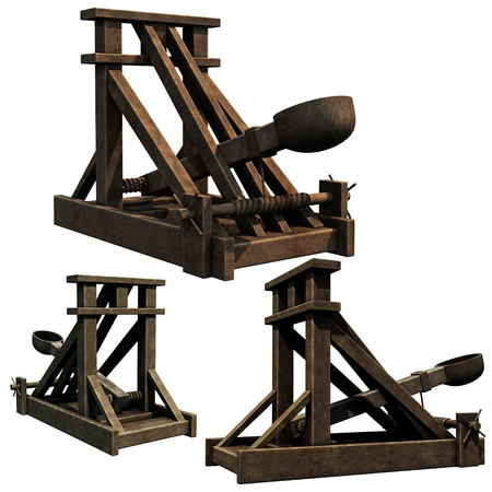 Siege Engine, 3d renders of a medieval catapult Stock Photo