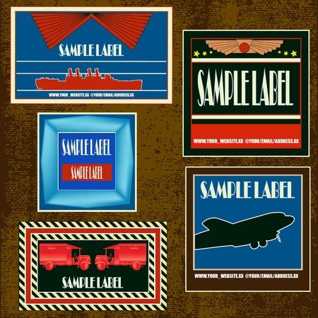 billets d avion: Vintage Set d'�tiquettes de voyage