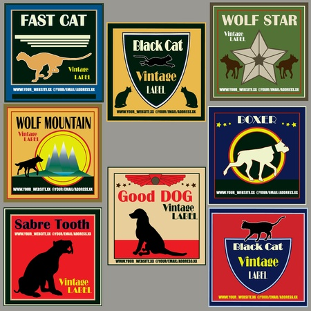 boxer dog: Cat and Dog Vintage Label Set  Illustration
