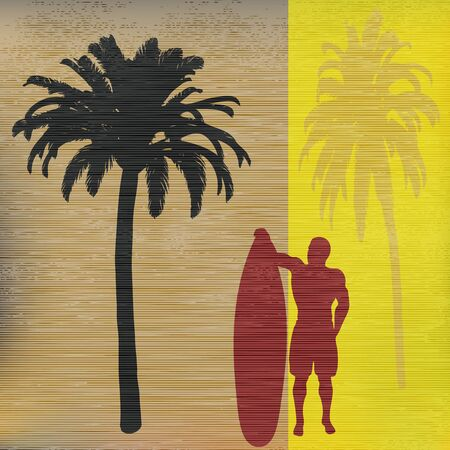 Tropical Surfer Background Vector