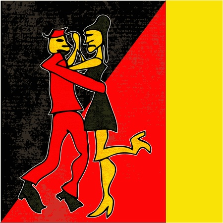 Tango Dance, cartoon style background  Vector
