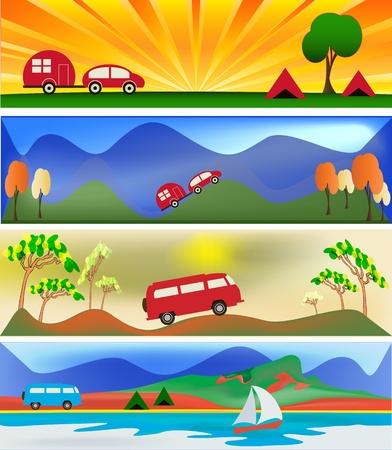 Camping et Caravaning Mod�les de banni�re de Web Illustration