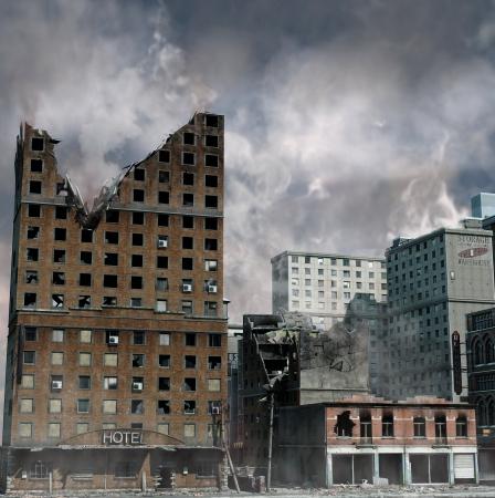 Urban Destruction, illustration of the aftermath of a disaster  Banque d'images
