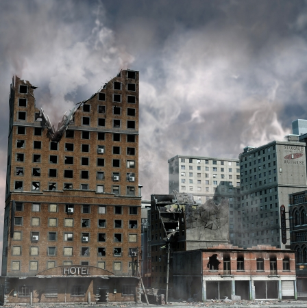 Urban Destruction, illustration of the aftermath of a disaster  Stock Photo