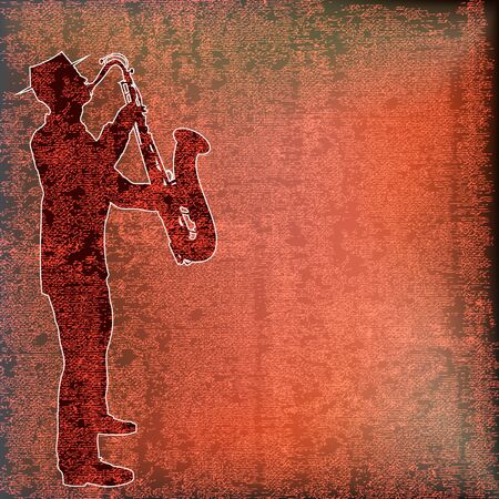 Saxophone Player over vintage paper Vector