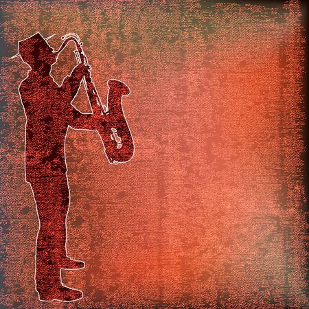 beat brochure: Saxophone Player over vintage paper