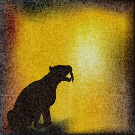 antiqued: Sabre Toothed Tiger over a vintage parchment background