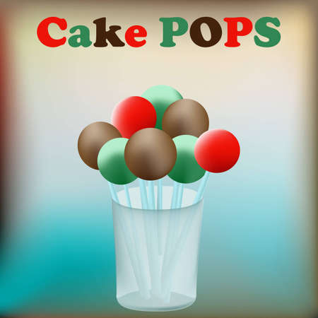 cake pops: Cake Pops background with confectionary in a glass jar Illustration