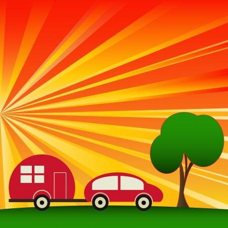 Sunny Caravaning, vector camping background Illustration