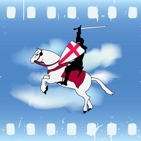 horse like: Vector illustration with a Horse Knight against a cloud sky on film strip like background