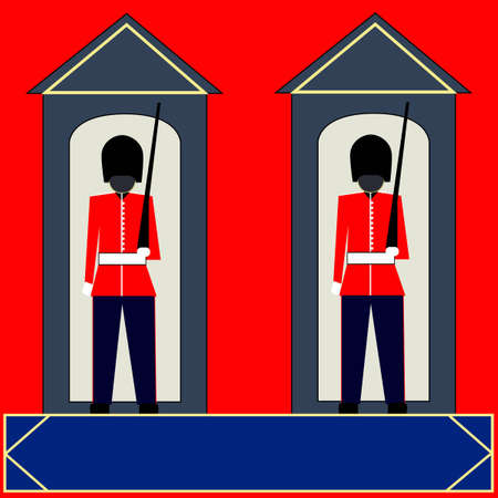 british army: Guardsmen  Background, two guards in their sentry boxes