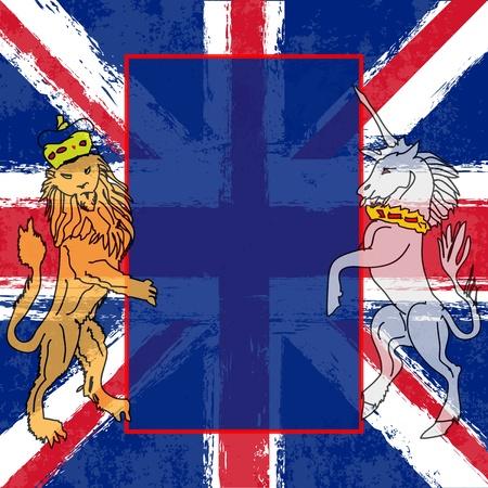 bandera inglaterra: Le�n y el Unicornio ilustraci�n de fondo con una bandera del Reino Unido para un brit�nico con motivo del Jubileo Real o