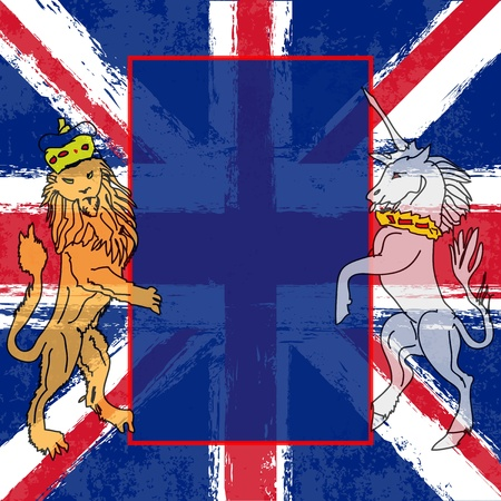 Lion and the Unicorn Background illustration with a Union Jack for a British Royal occasion or Jubilee  Illustration