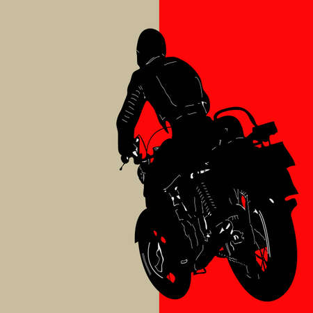Biker Background, illustration with a motorcyclist Vector