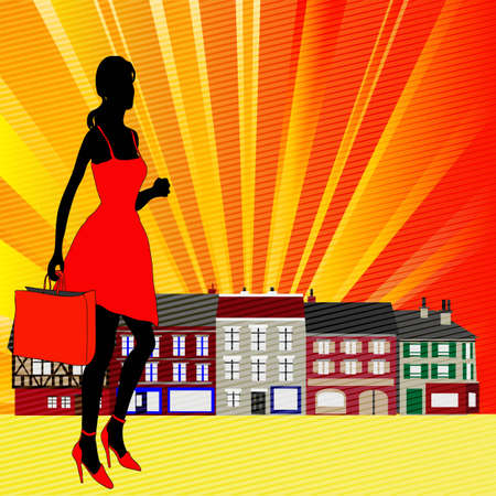retail therapy: High Street Shopping,  illustration with a girl going to some traditional town Shops
