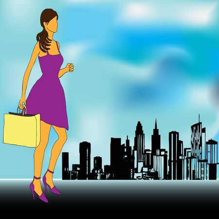 retail therapy: City Shopping,  illustration with a girl going to the Big City Shops
