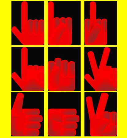 A set of iconic illustrations of red hands in various poses Vector