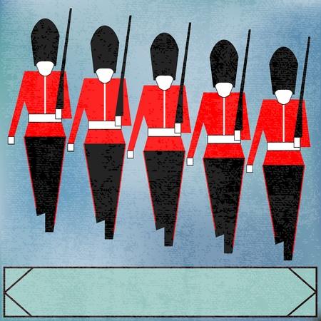 regiment: Guardsmen Marching Message, for a British Royal event or Jubilee