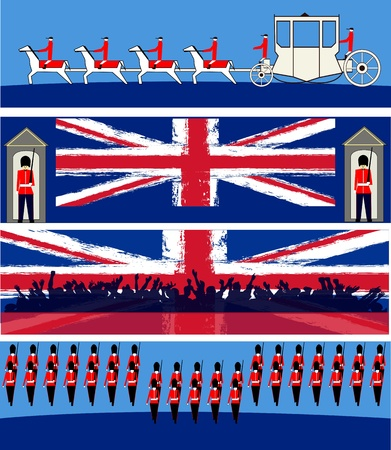 british army: Set of vector templates for a British royal celebration, with a State Symbols and Union Jacks  Illustration