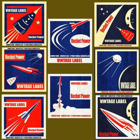 A set Vintage Labels with illustrations of retro style space rockets Vector