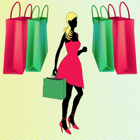 Shopping Bags,  illustration with a girl going to the shops Vector