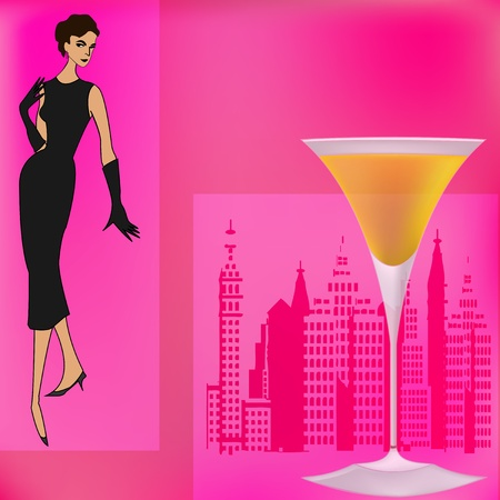 Background illustration for a cocktail bar with a 1950s feel Vector